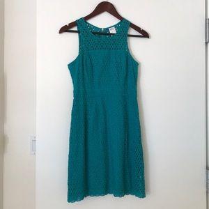 Ali Ro sleeveless eyelet dress (teal, size 2)
